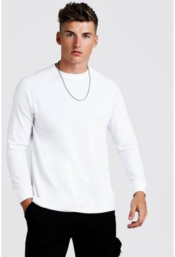 Herr White Long Sleeve Longline Curved Hem Raglan T-Shirt