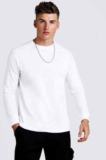 Mens White Long Sleeve Longline Curved Hem Raglan T-Shirt