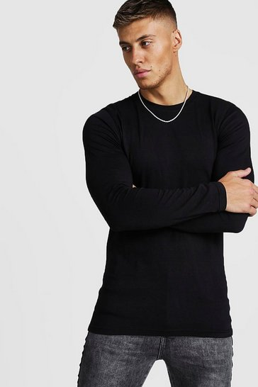 Mens Black Muscle Fit Long Sleeve T-Shirt