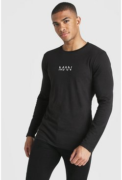Herr Black Original MAN Muscle Fit Long Sleeve T-Shirt