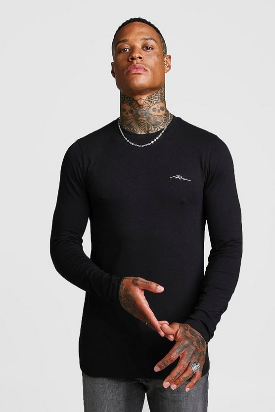 Black MAN Signature Muscle Fit Long Sleeve T-Shirt