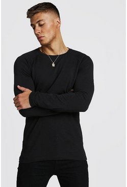 Herr Black Muscle Fit Long Sleeve Raglan T-Shirt