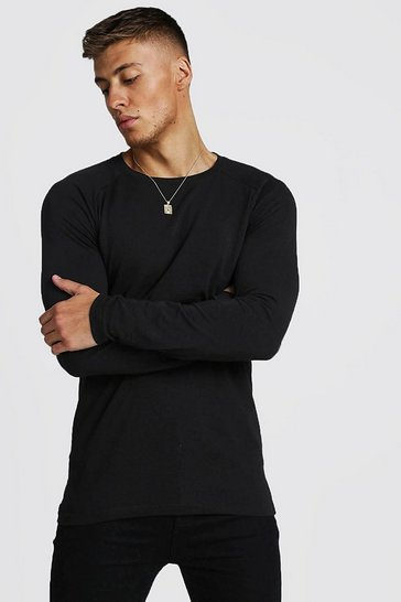 Mens Black Muscle Fit Long Sleeve Raglan T-Shirt