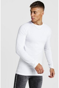 Mens White Muscle Fit Long Sleeve Raglan T-Shirt