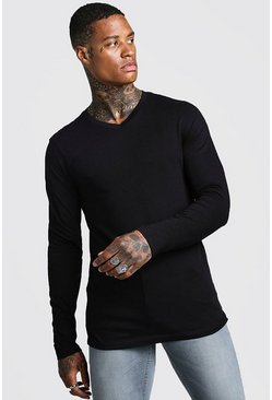 Mens Black Muscle Fit Long Sleeve V Neck T-Shirt