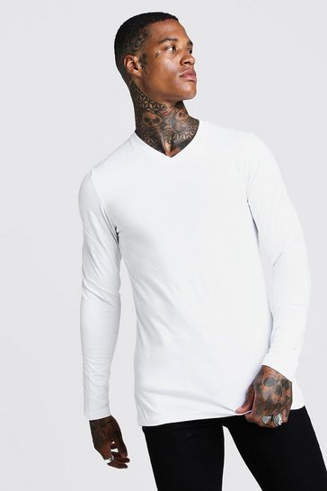 Mens White Muscle Fit Long Sleeve V Neck T-Shirt