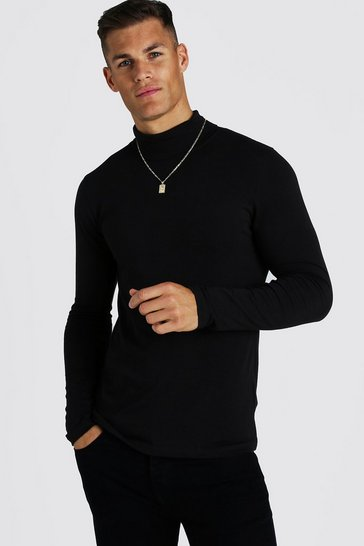 Black Muscle Fit Long Sleeve Roll Neck T-Shirt