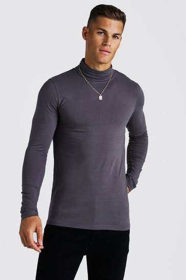Mens Charcoal Muscle Fit Long Sleeve Roll Neck T-Shirt