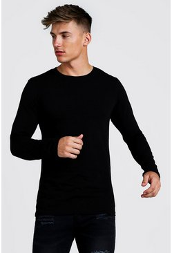 Langärmeliges Muscle-Fit Longline T-Shirt, Schwarz
