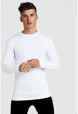 Herr White Muscle Fit Long Sleeve Longline T-Shirt