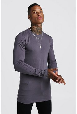 Herr Charcoal Muscle Fit Long Sleeve Longline T-Shirt