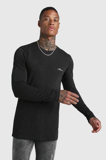 Mens Black MAN Signature Muscle Fit LS Longline T-Shirt