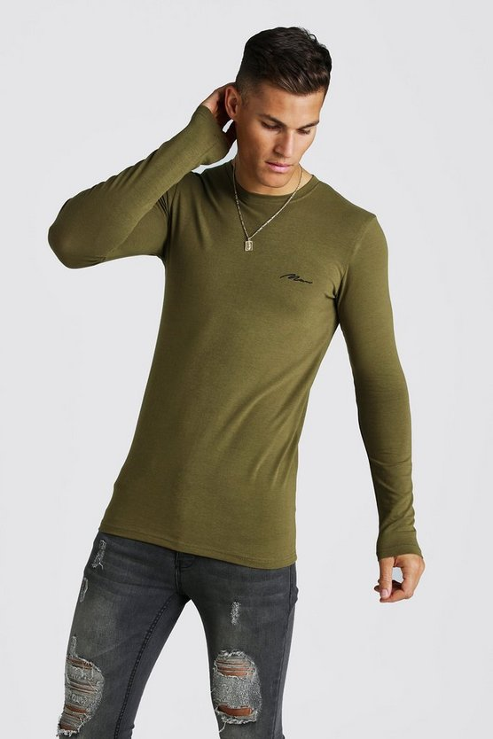 Khaki MAN Signature Muscle Fit LS Longline T-Shirt