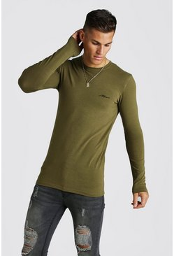 Mens Khaki MAN Signature Muscle Fit LS Longline T-Shirt