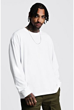 Mens White Oversized Long Sleeve T-Shirt