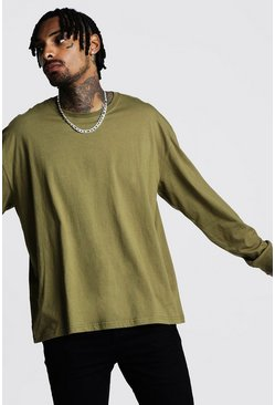 Mens Khaki Oversized Long Sleeve T-Shirt