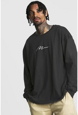 Mens Black MAN Signature Oversized Long Sleeve T-Shirt