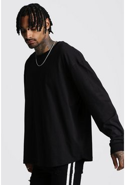 Mens Black Oversized Long Sleeve Curved Hem T-Shirt