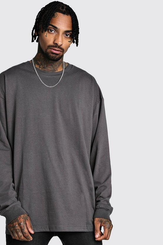 Mens Charcoal Oversized Long Sleeve Longline T-Shirt