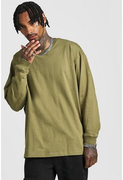 Khaki Oversized Long Sleeve Longline T-Shirt