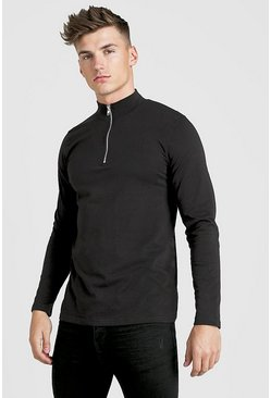 Mens Black Long Sleeve T-Shirt With 1/4 Zip Funnel Neck