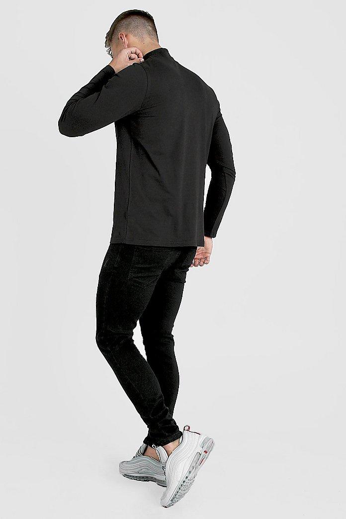 Långärmad t shirt med hög krage och kort dragkedja | boohoo