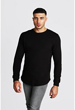 Mens Black Long Sleeve T-Shirt With Curved Hem