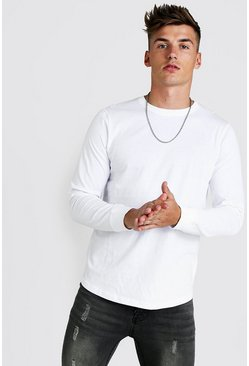 Herr White Long Sleeve T-Shirt With Curved Hem