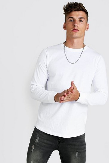 Mens White Long Sleeve T-Shirt With Curved Hem