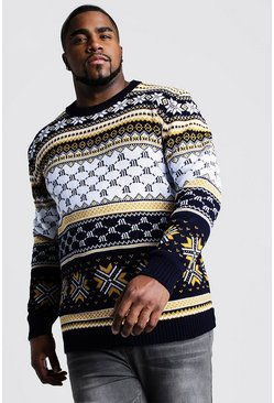 Navy Big And Tall Festive Intarsia Christmas Jumper