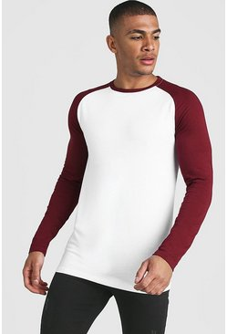 Herr White Muscle Fit Long Sleeve Contrast Raglan T-Shirt