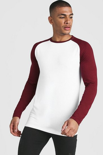 Mens White Muscle Fit Long Sleeve Contrast Raglan T-Shirt