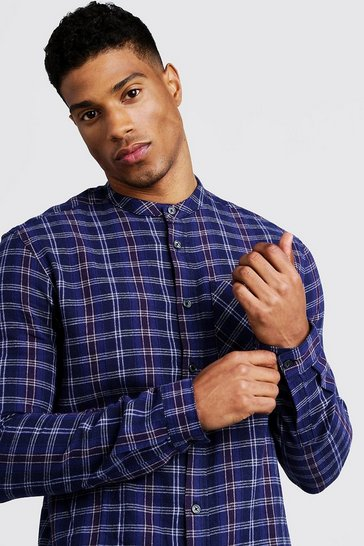 Mens Burgundy Long Sleeve Flannel Check Grandad Collar Shirt