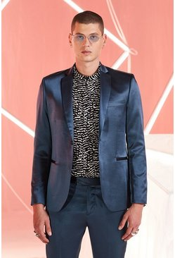 Teal Satin Skinny Fit Suit Jacket
