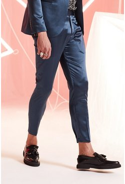 Teal Satin Skinny Fit Cropped Suit Pants