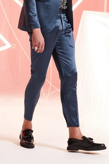 Mens Teal Satin Skinny Fit Cropped Suit Trouser