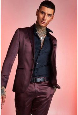 Maroon Satin Skinny Fit Suit Jacket