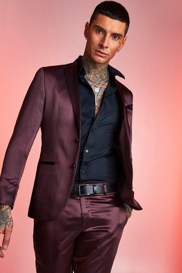 Mens Maroon Satin Skinny Fit Suit Jacket