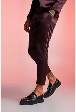 Mens Maroon Satin Skinny Fit Cropped Suit Trouser