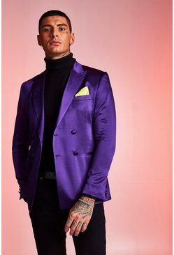 Herr Purple Satin Skinny Fit Double Breasted Jacket