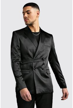 Black Satin Double Breasted Skinny Fit Jacket