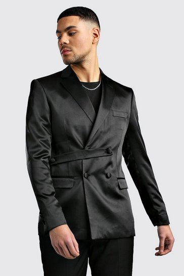 Mens Black Satin Double Breasted Skinny Fit Jacket