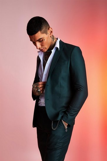 Mens Forest Plain Skinny Fit Suit Jacket