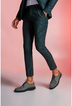 Mens Forest Plain Skinny Fit Suit Trouser With Chain