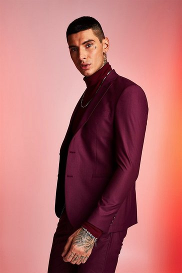 Mens Maroon Plain Skinny Fit Suit Jacket