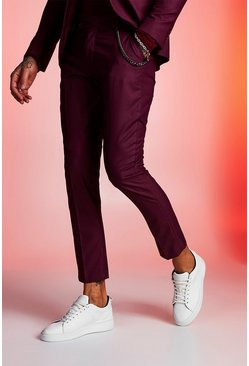 Maroon Plain Skinny Fit Suit Trouser With Chain