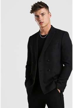 Black Jacquard Double Breasted Skinny Fit Suit Jacket