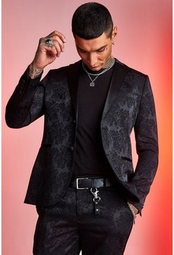 Mens Black Paisley Jacquard Skinny Fit Suit Jacket