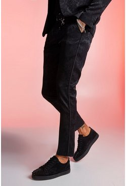 Mens Black Paisley Jacquard Skinny Fit Suit Trouser