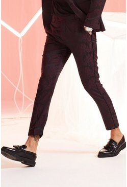Maroon Paisley Jacquard Skinny Fit Suit Trouser